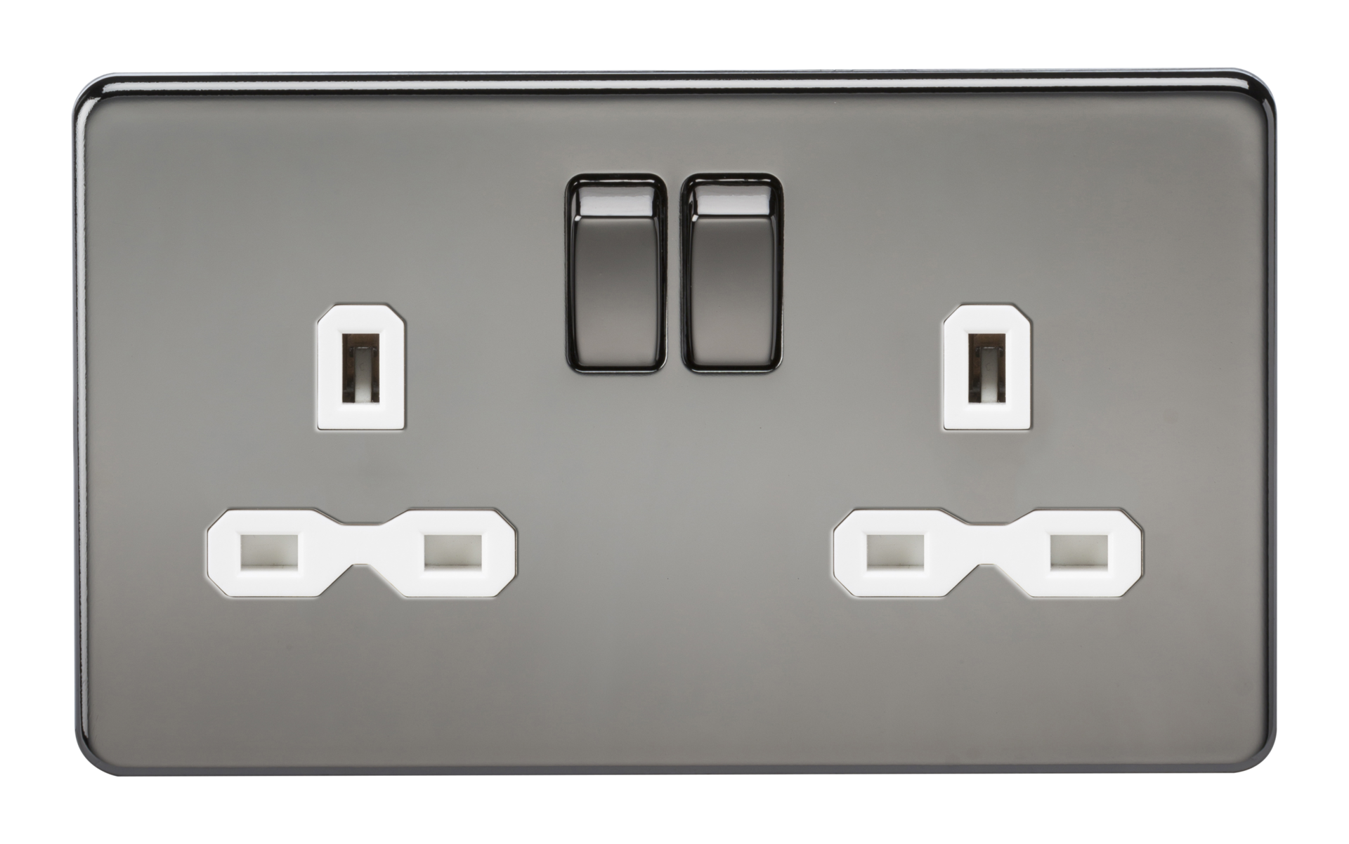 SCREWLESS 13A 2G DP SWITCHED SOCKET - BLACK NICKEL WITH WHITE INSERT