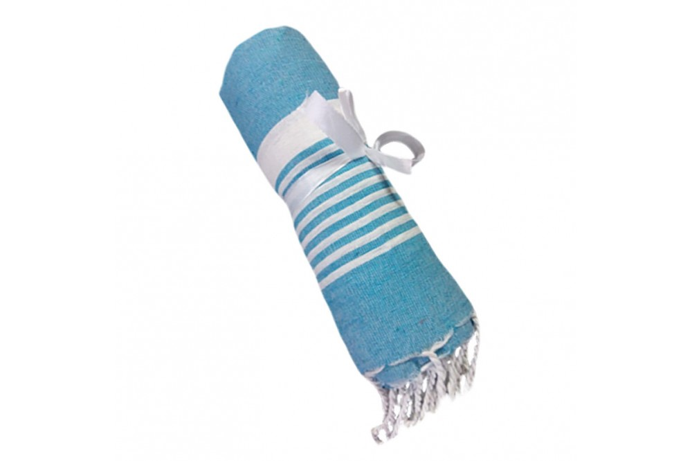 Cotton Towel Turquoise thin striped band