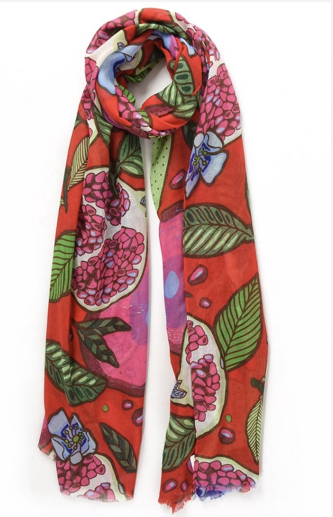Red scarf with pomegranate and lemon print