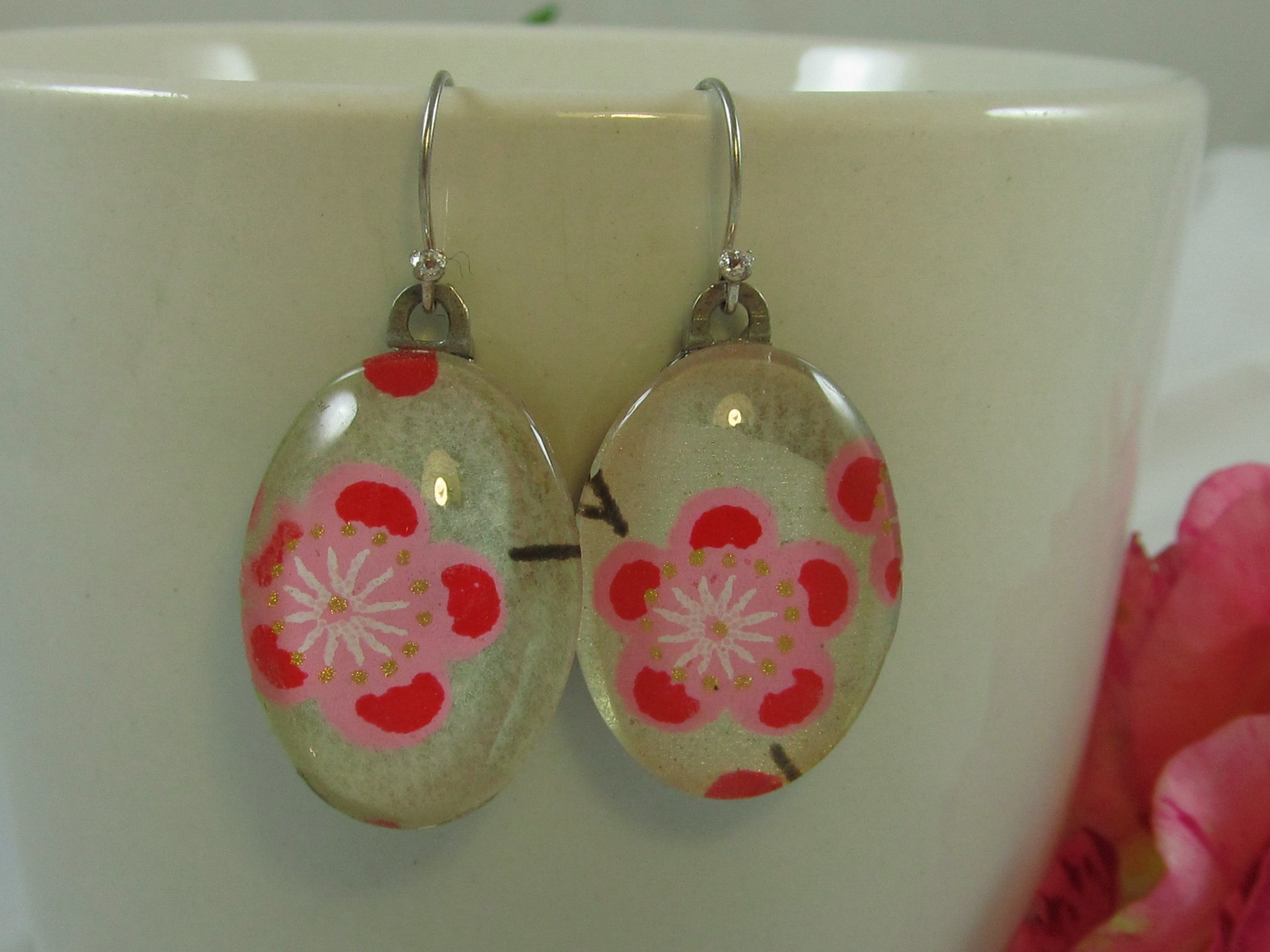 Pink Cherry Blossom Chiyogami Earrings