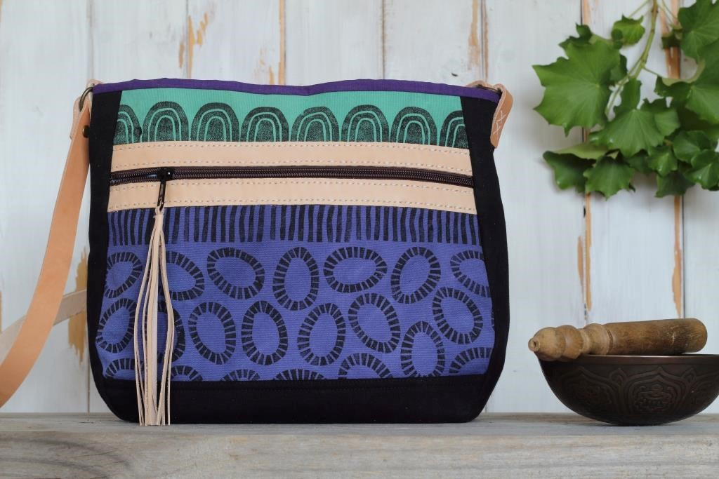 Cross Body Bag - Green and Mauve