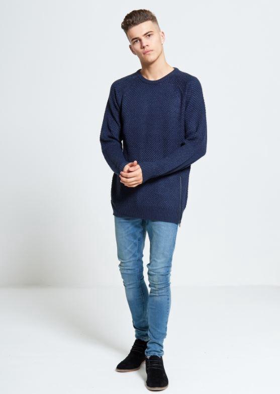 Menswear Zip Detailed Knitted Navy Jumper