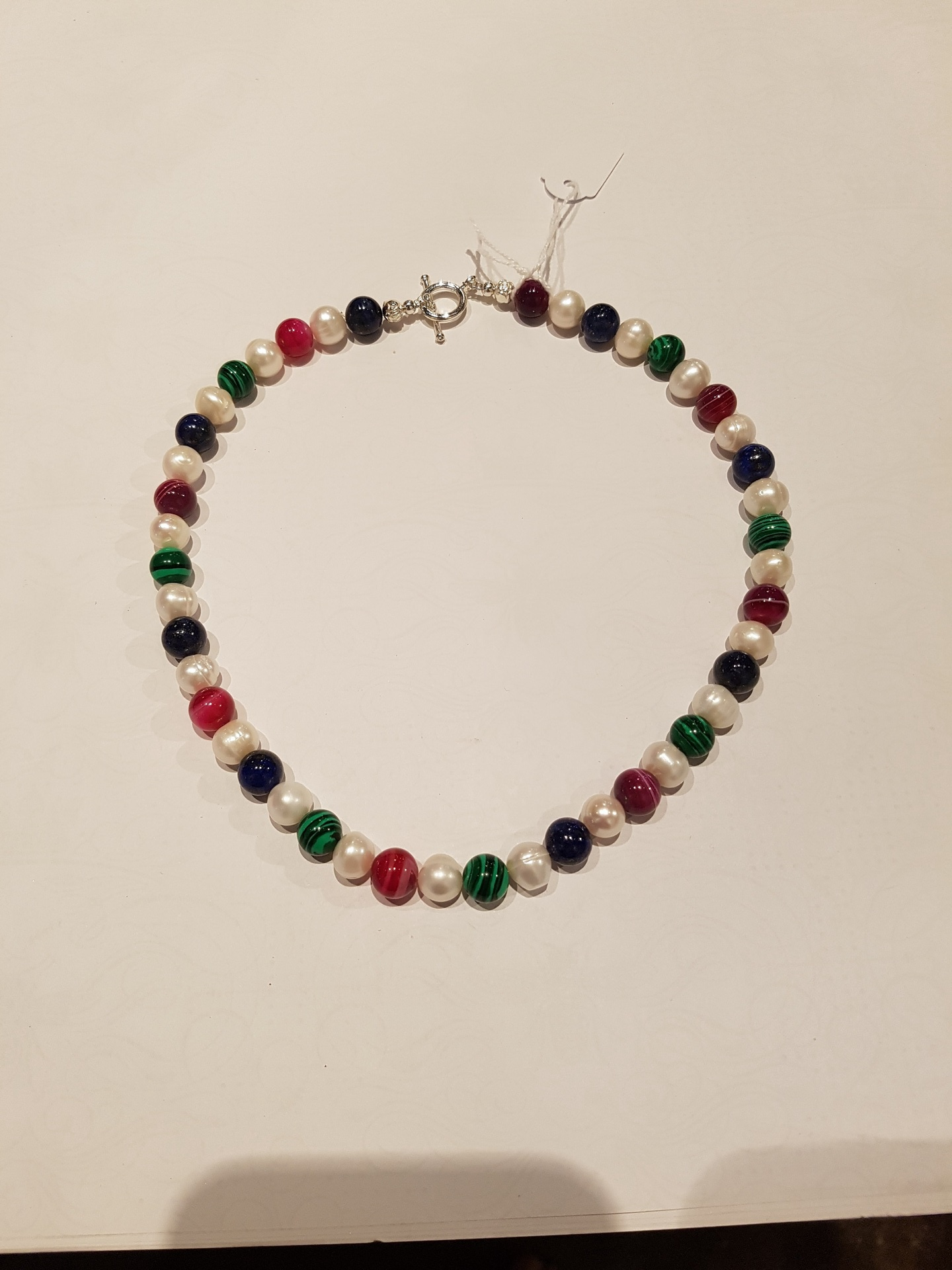 Fresh Water Pearl, Lapis, Malachite and Agate Necklace