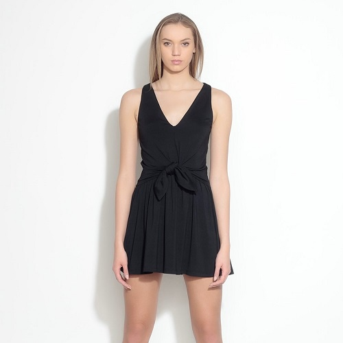 Sleeveless Knotted Mini Dress | Black