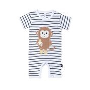 MONKEY SHORT ROMPER - BLACK+WHITE STRIPE
