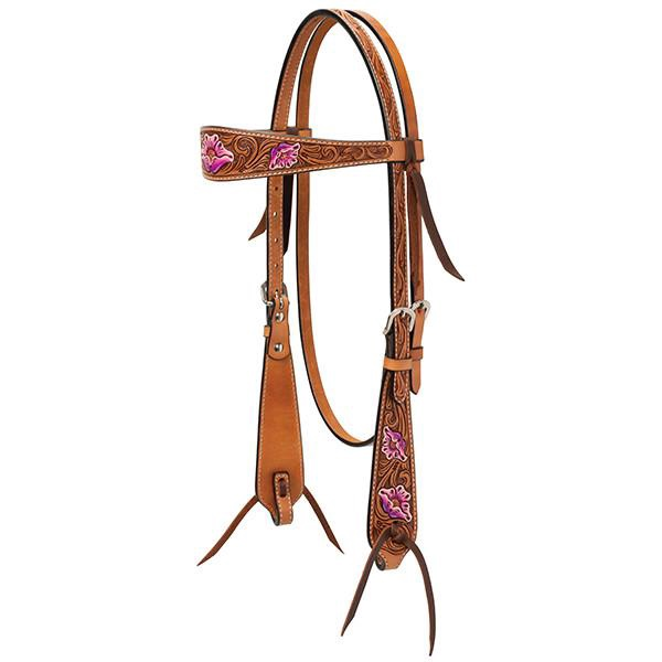 Turquoise Cross Floral Carved with Hand Painted Accents Headstall
