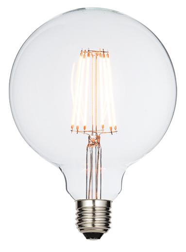 E27 LED filament globe 125mm 6W warm white accessory - clear glass