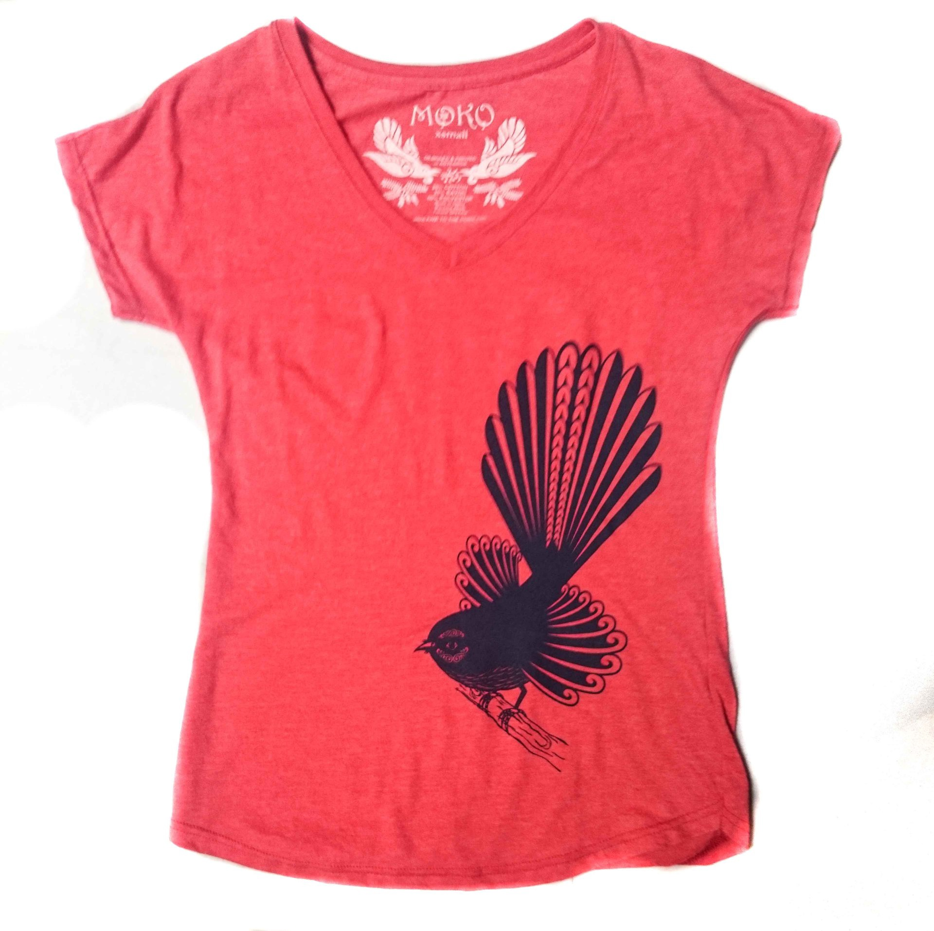 womens v neck tee fantail red