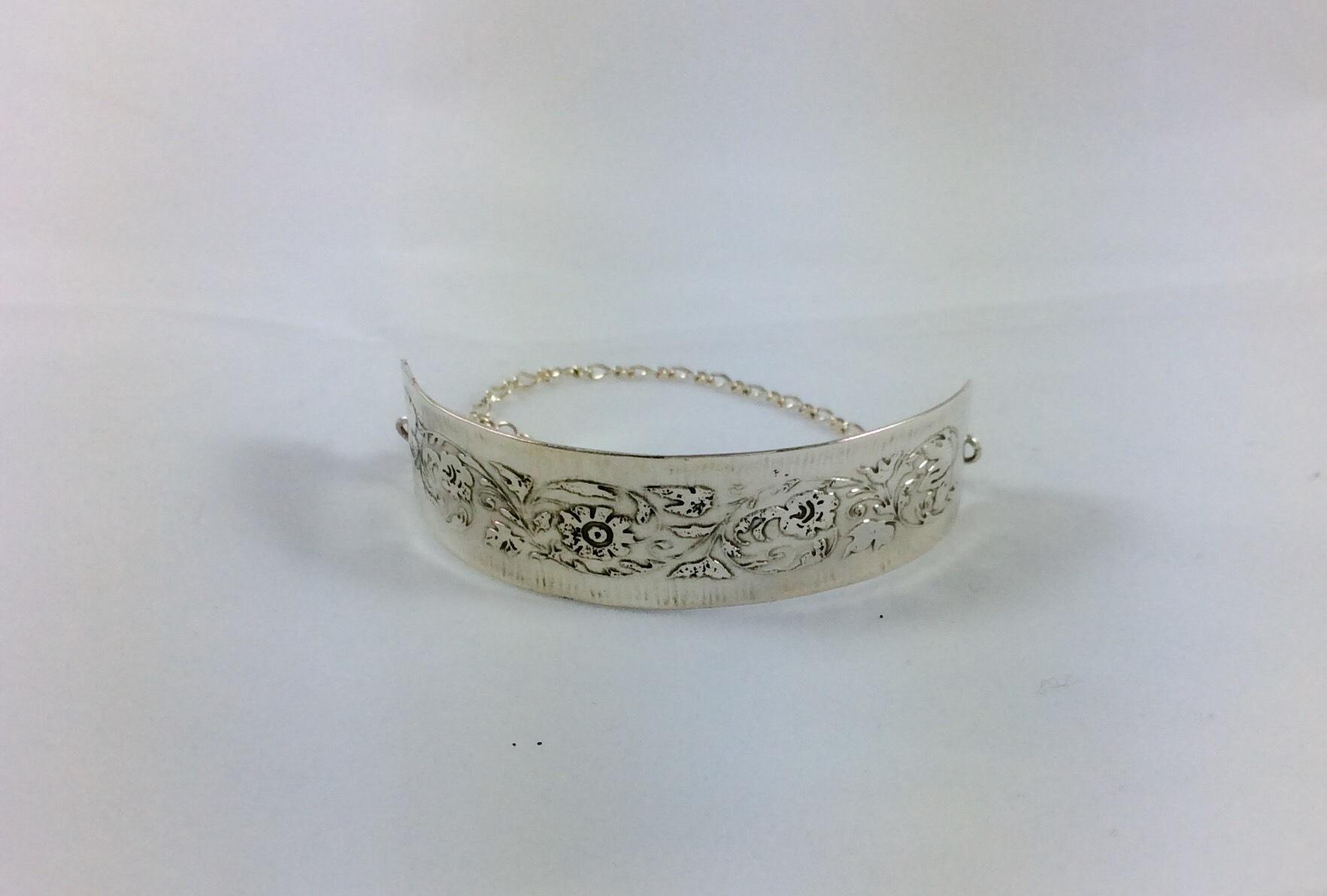 sterling silver floral etched bracelet