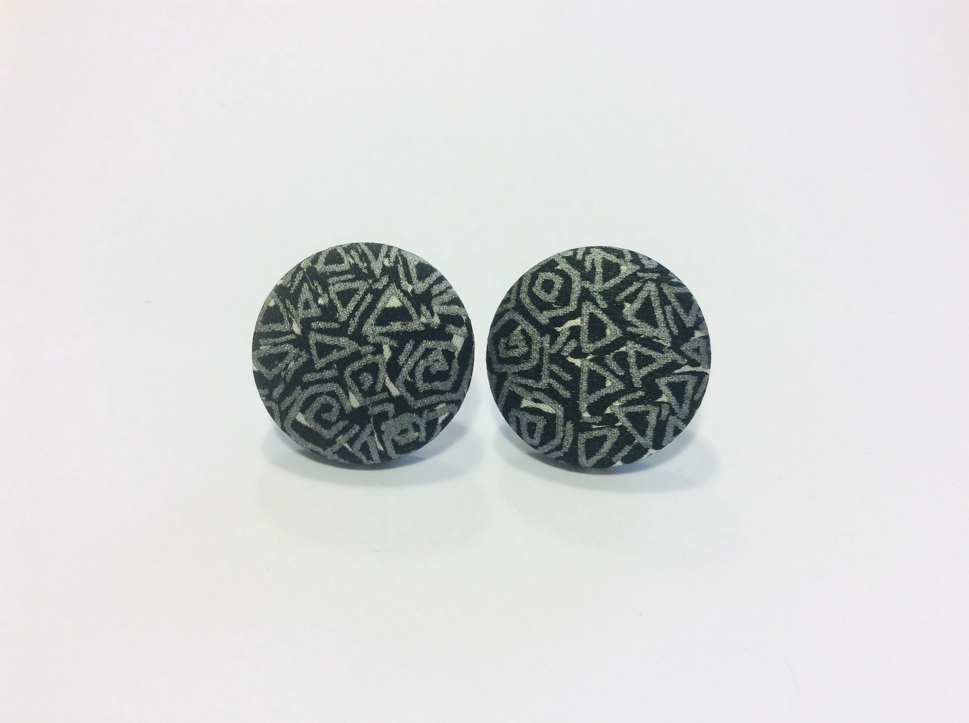 Silver and black hand painted silk round stud earrings
