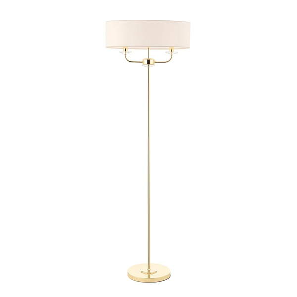 Nixon 2lt floor 40W SW - brass vintage white faux silk