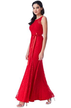 Floor Length Gown - Open Back Lace Maxi Dress with Ribbon Tie, NEW