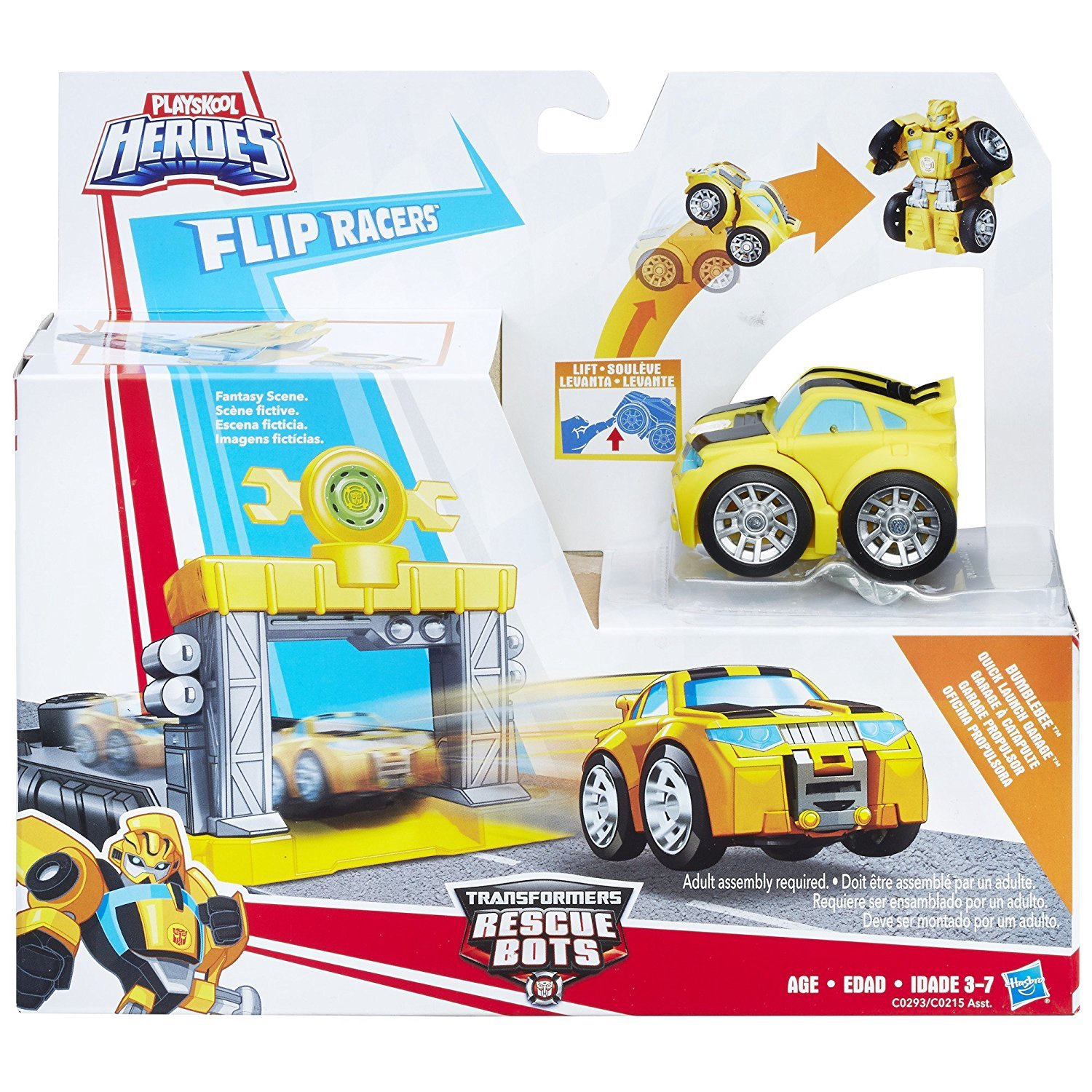 TRANSFORMERS RESCUE BOTS FLIP RACERS BUMBLEBEE QUICK LAUNCH GARAGE