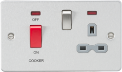 Flat plate 45A DP switch and 13A switched socket with neon - brushed chrome with grey insert