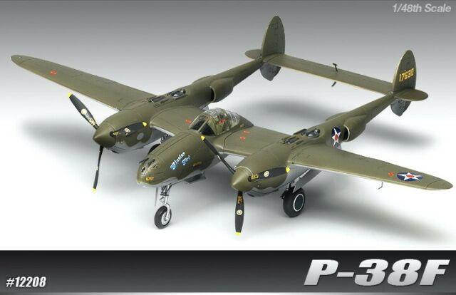 Academy #12208 1/48 P-38F Lightning Glacier Girl
