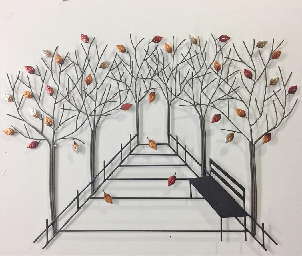 Park bench leaves wallart