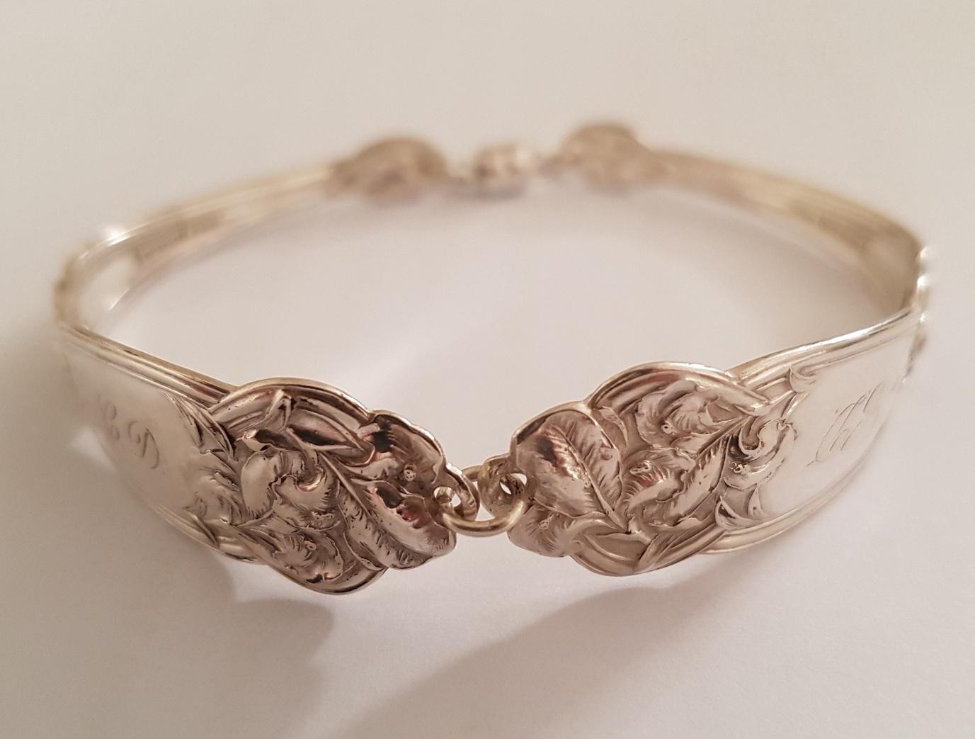 Vintage sterling silver floral spoon bracelet