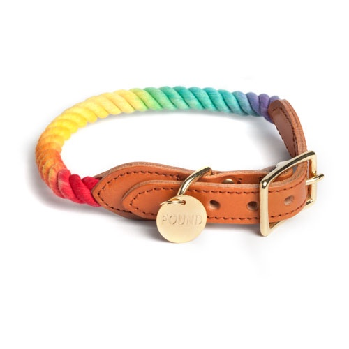 Prismatic Ombre Cotton Rope Dog Collar | Extra Large