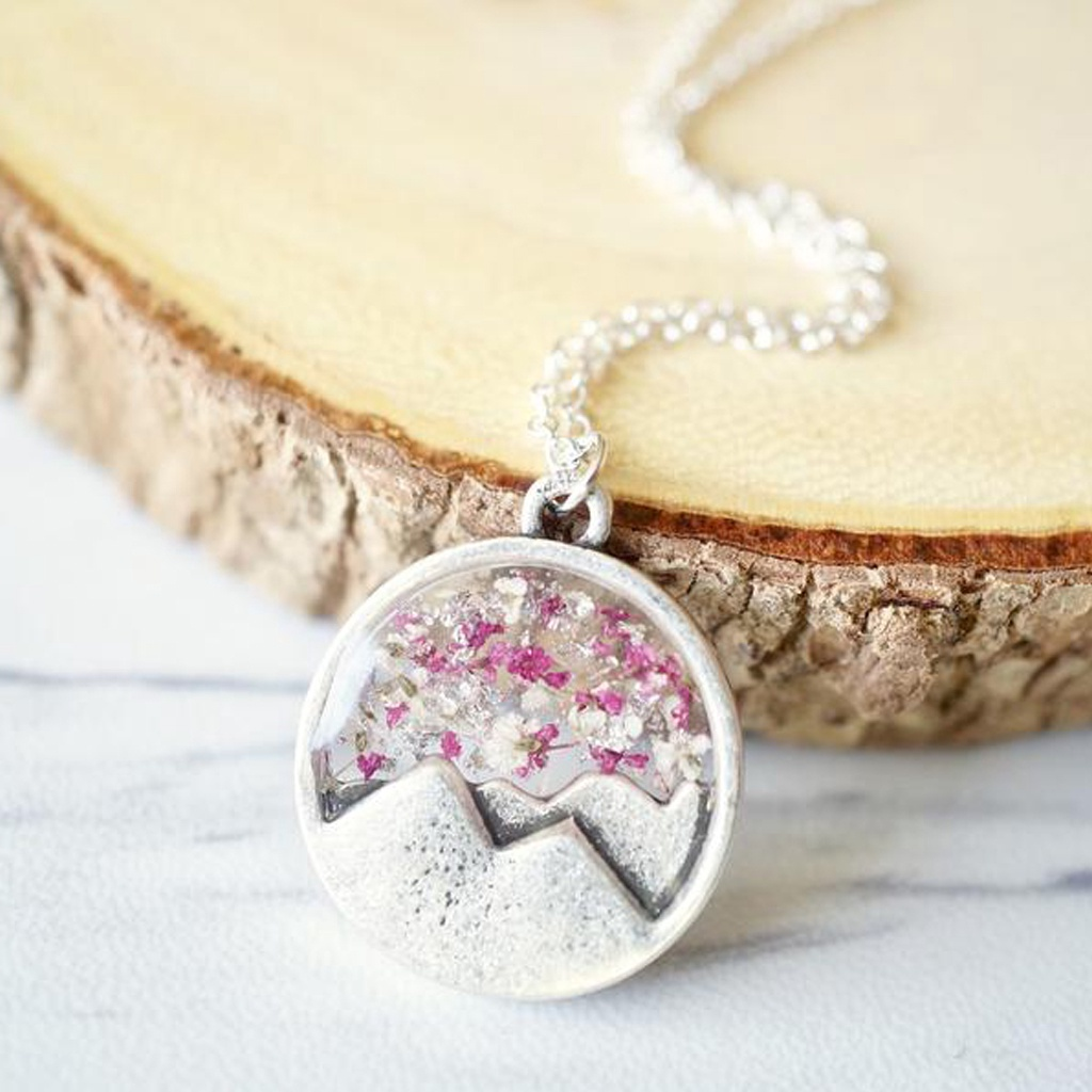 Real Dried Flowers in Resin, Silver Mountain Necklace