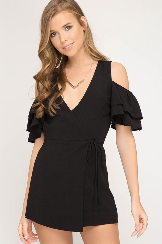 Blk Ruffled Cold Should Wrap Romper
