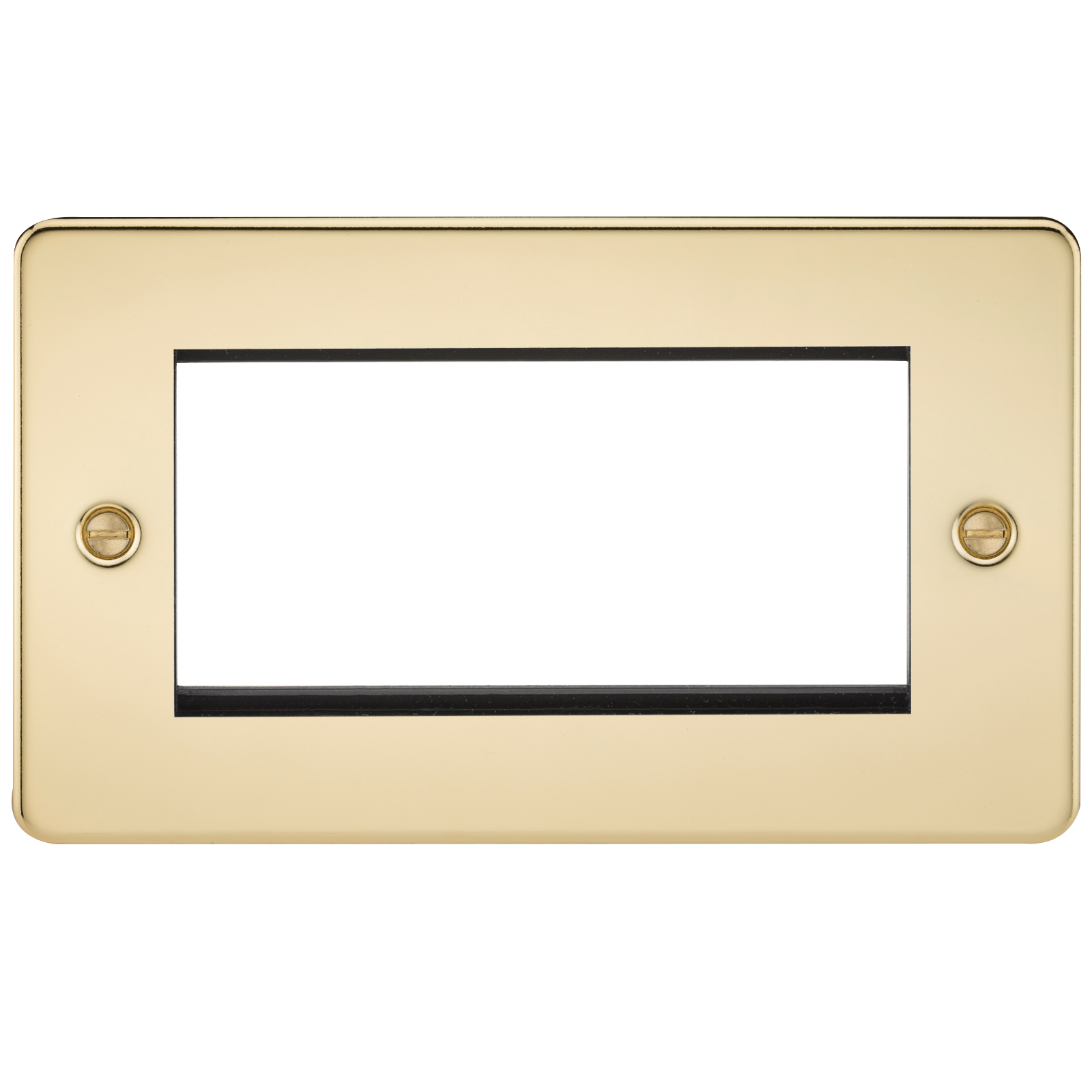 FLAT PLATE 4G MODULAR FACEPLATE - POLISHED BRASS