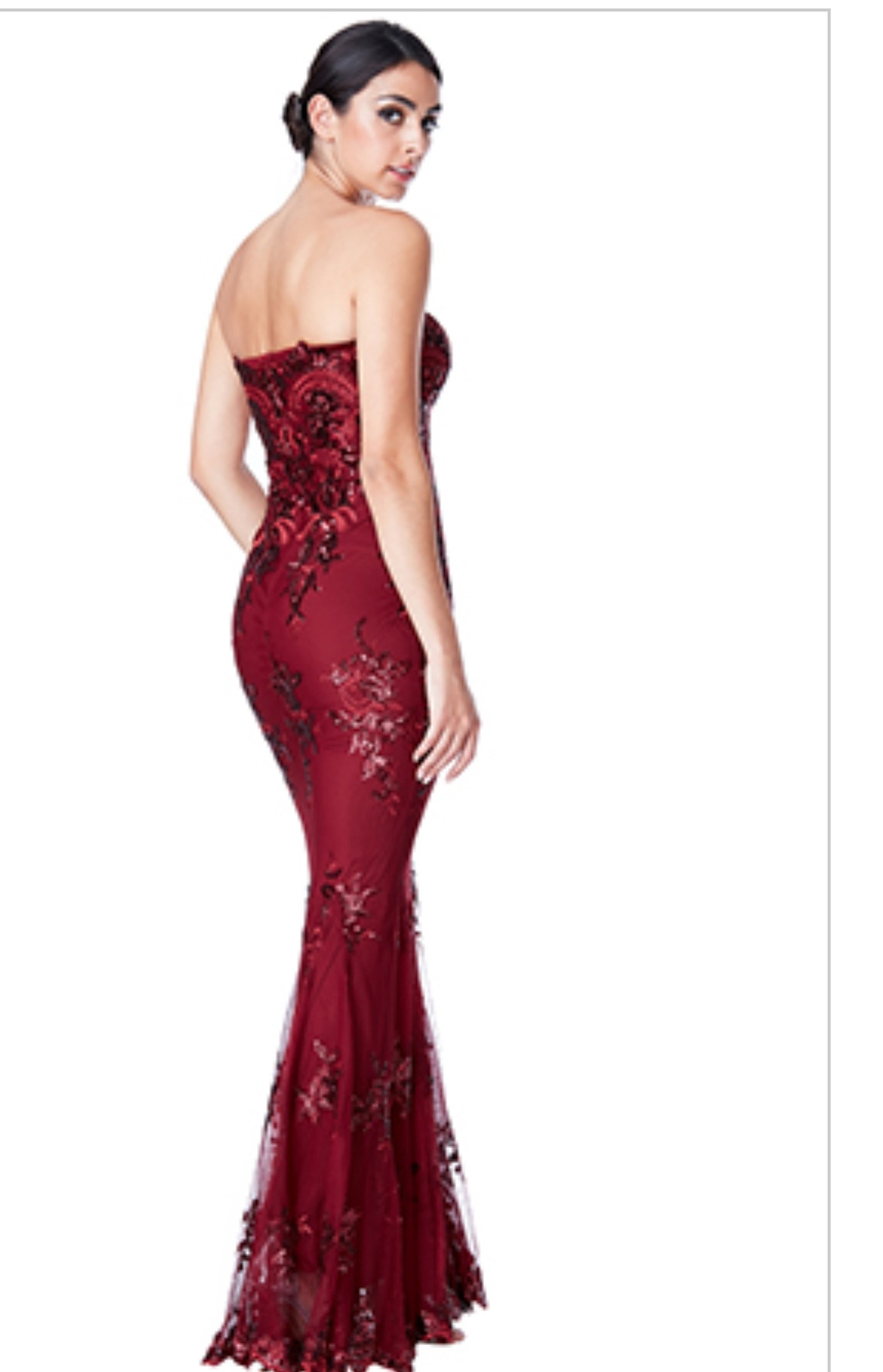 7f9cb5ffefe7 Floor Length Gown - Wine Strapless Chiffon Sequined Accent Maxi Dress