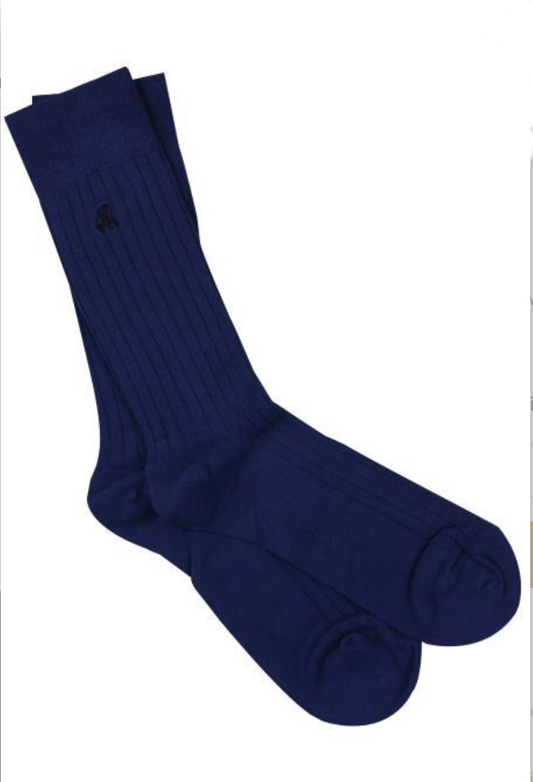 Royal blue ribbed bamboo socks