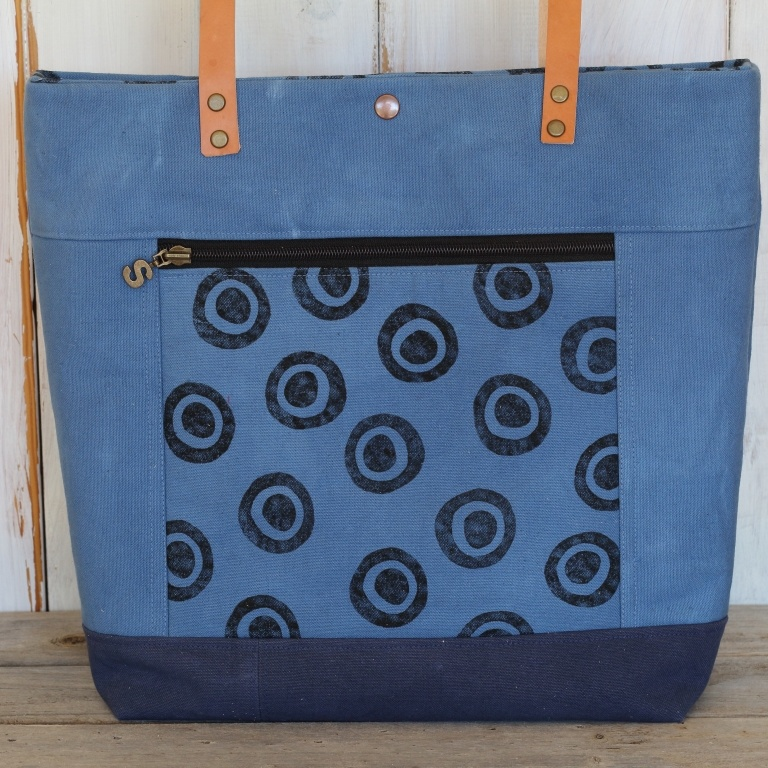 Blue Canvas Tote with zippered pocket