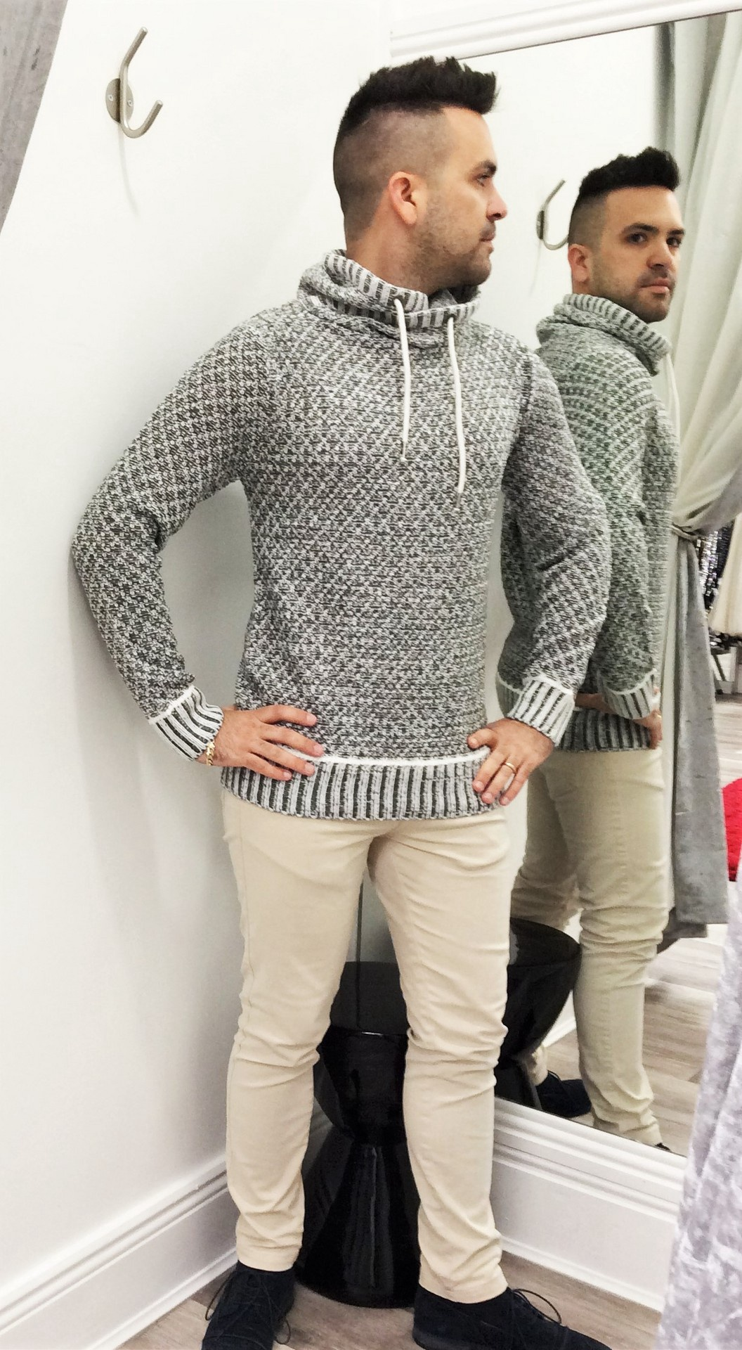 Menswear Roll Neck Grey Sweater