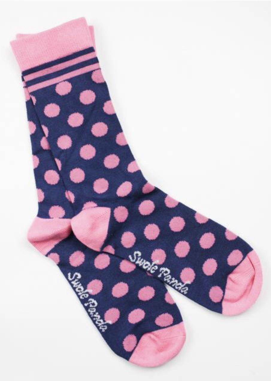 Navy and pink polka dot ladies socks (4-7)