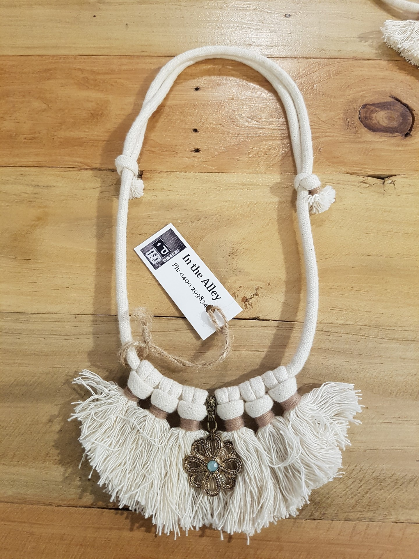 Boho Rope Necklace with Blue and Silver Accent
