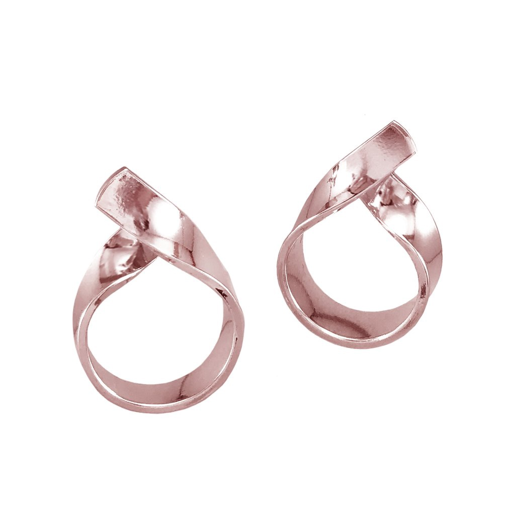 BIKO - RIBBON LOOP STUDS IN ROSE GOLD