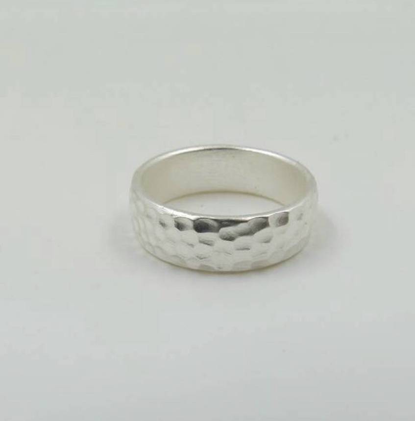 Hammered effect silver ring