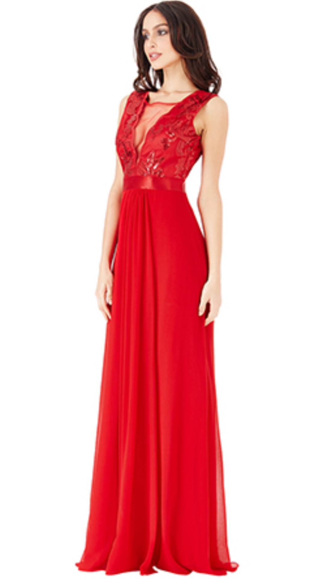 Red chiffon floor length gown