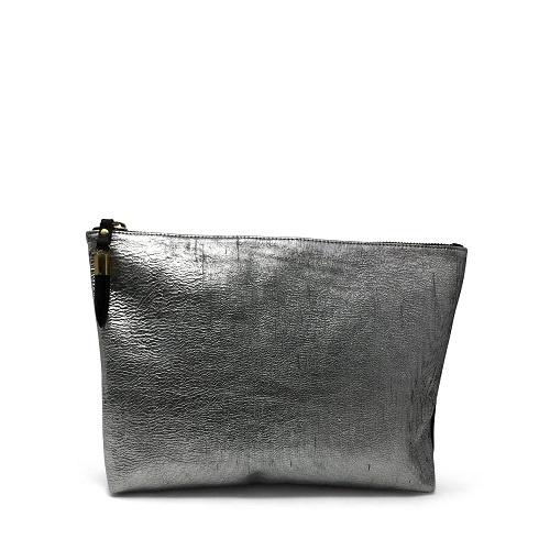 Metallic Rain Silver Medium Pouch