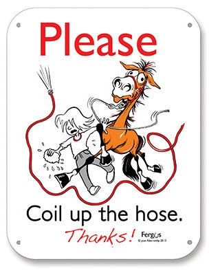 Fergus Stall Sign Please Coil Horse