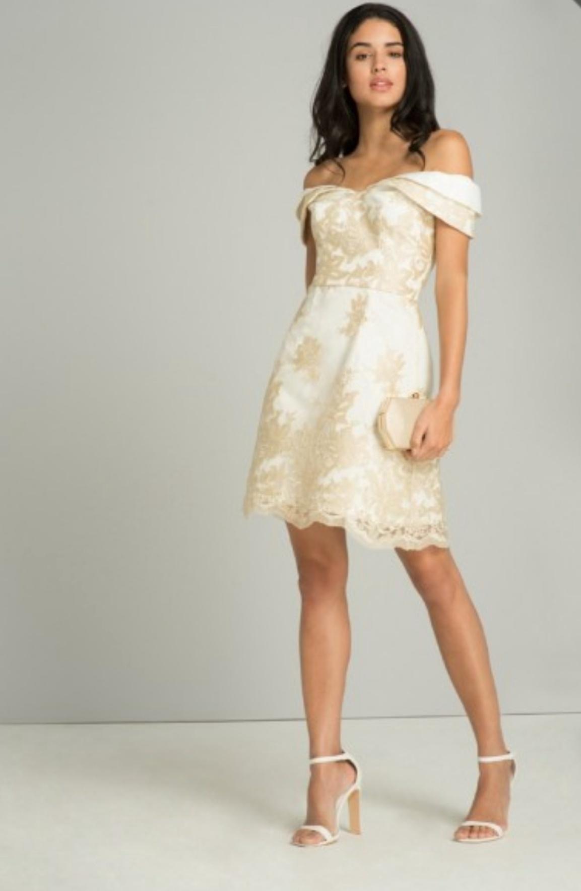 Cream/gold Eline short dress