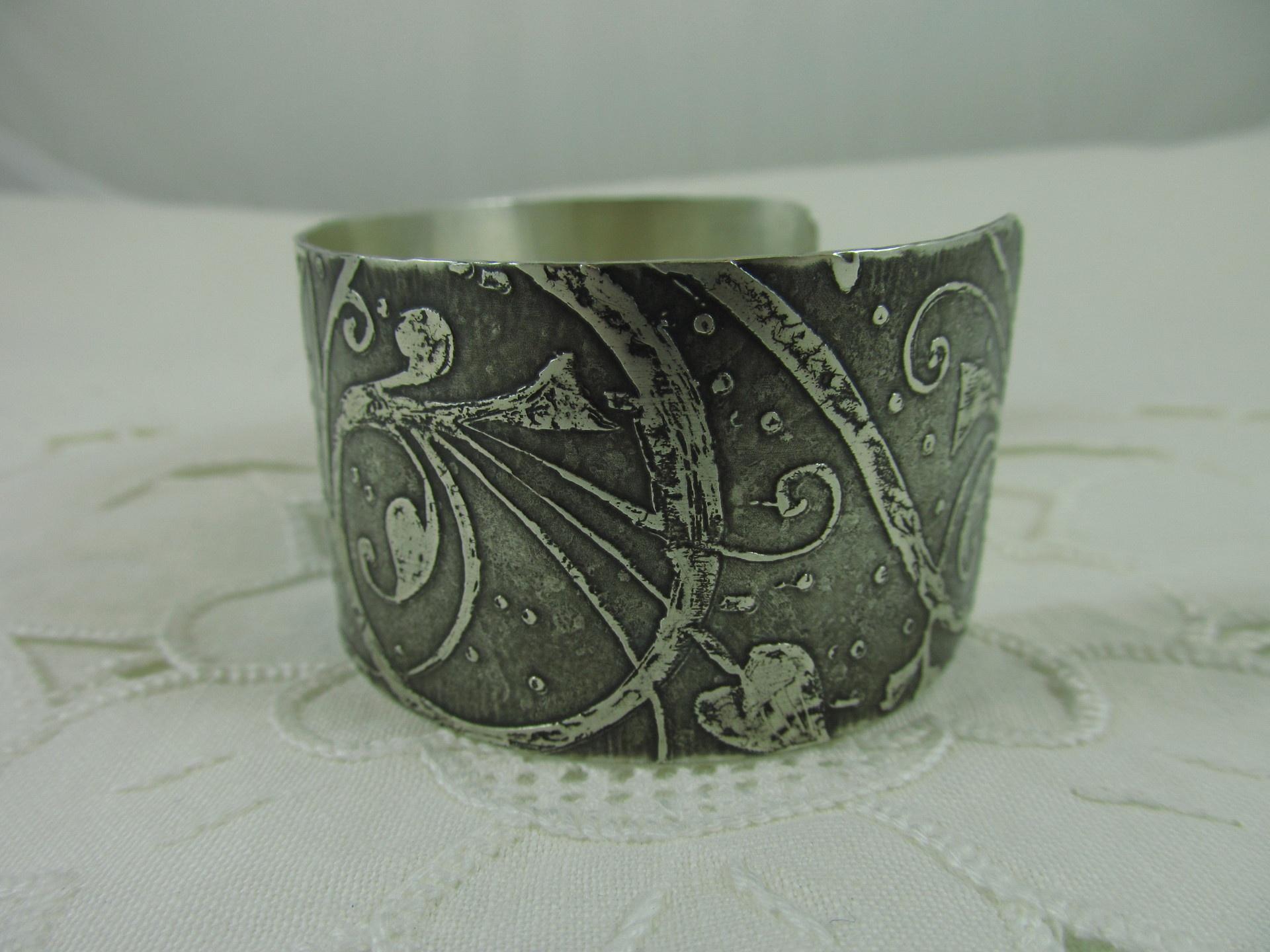 Sterling silver art nouveau etched cuff