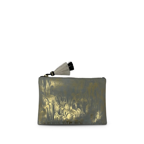 Aqua & Gold Marbled Small Pouch