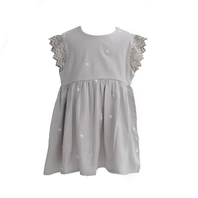 GREY STAR EMBROIDERED MILA DRESS