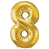 NUMBER 8 GOLD BALLOON 34 INCH
