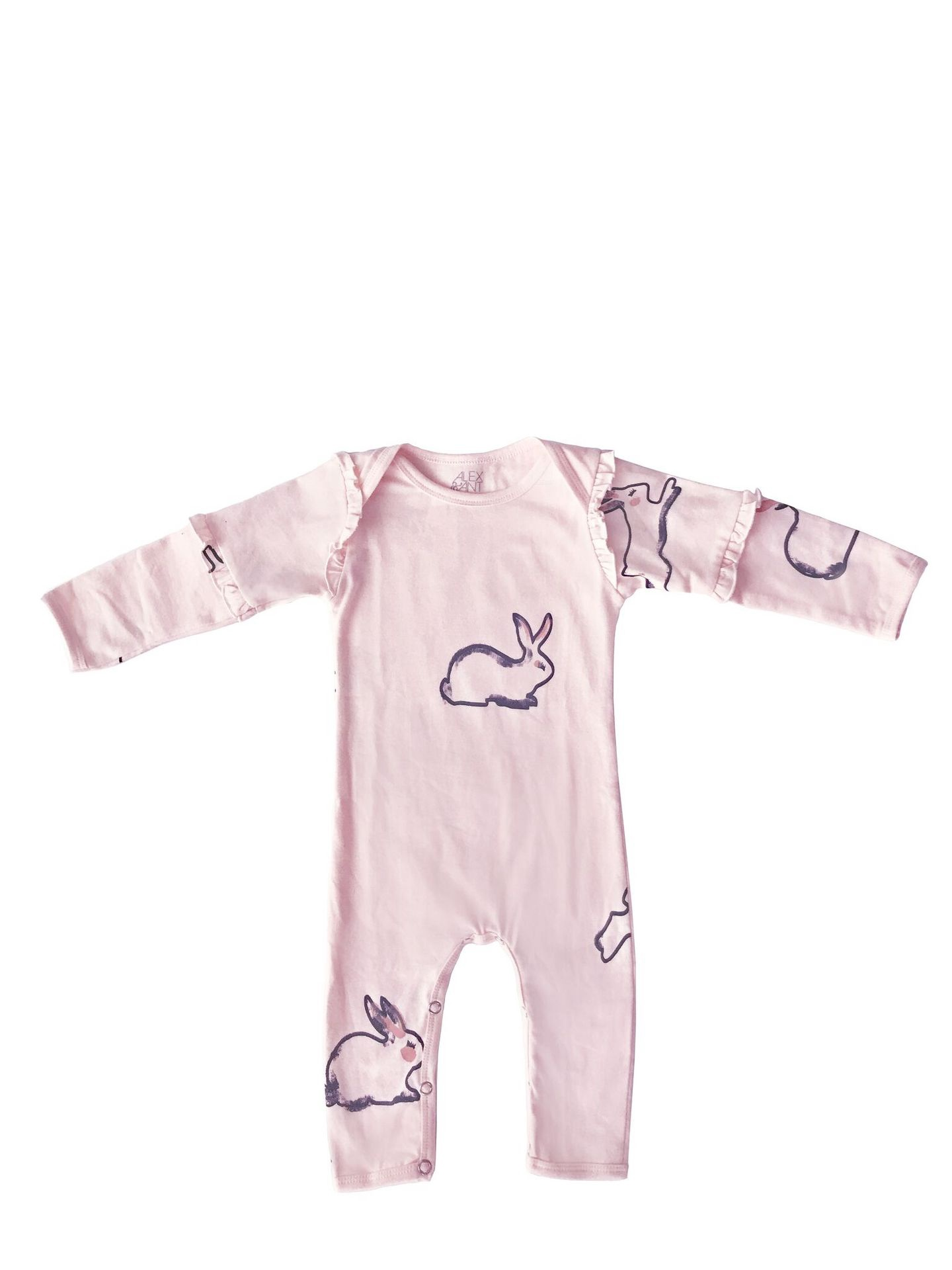 Alex and Ant Rabbit Frill Sleeve Onesie Pink