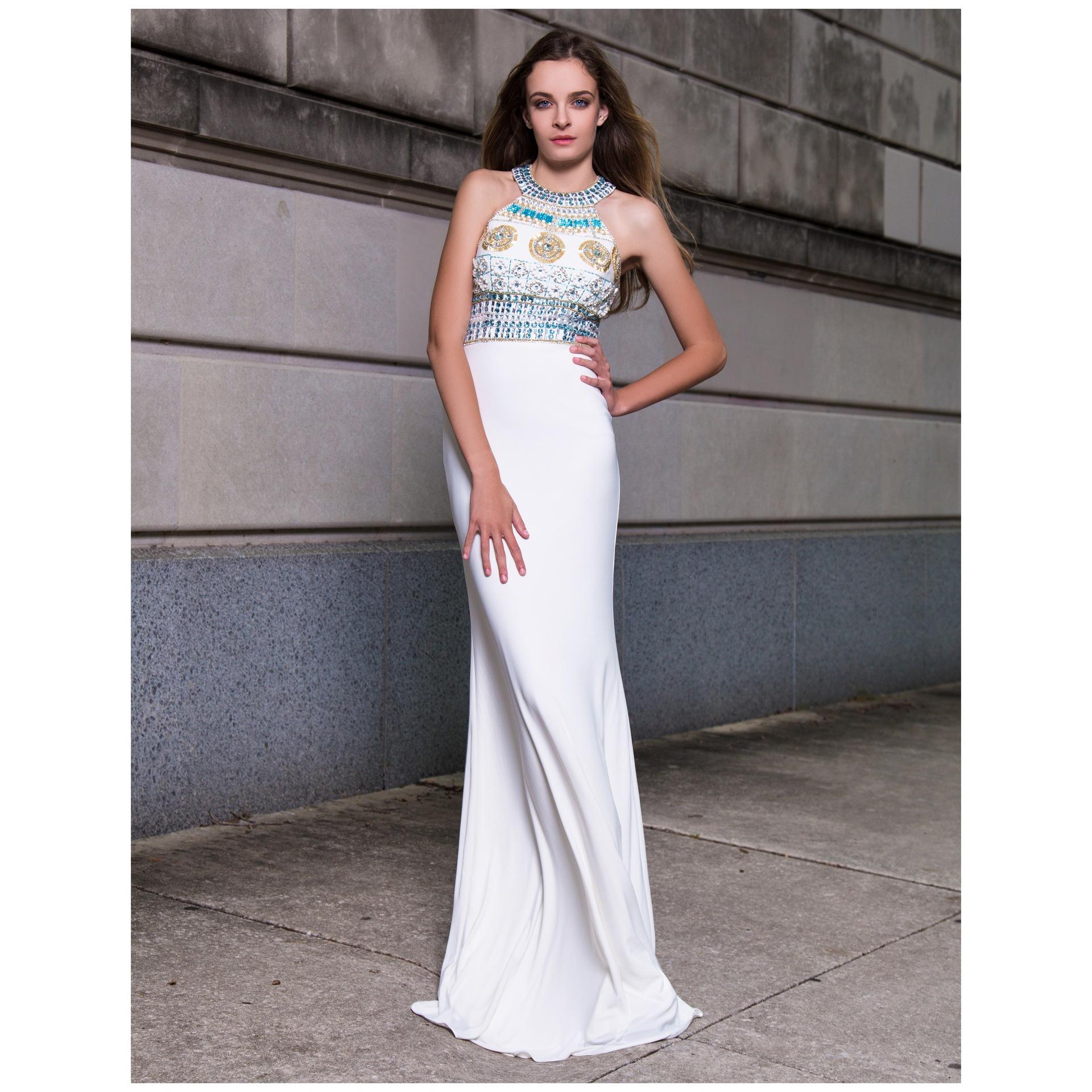 Cream hand beaded floor length dress