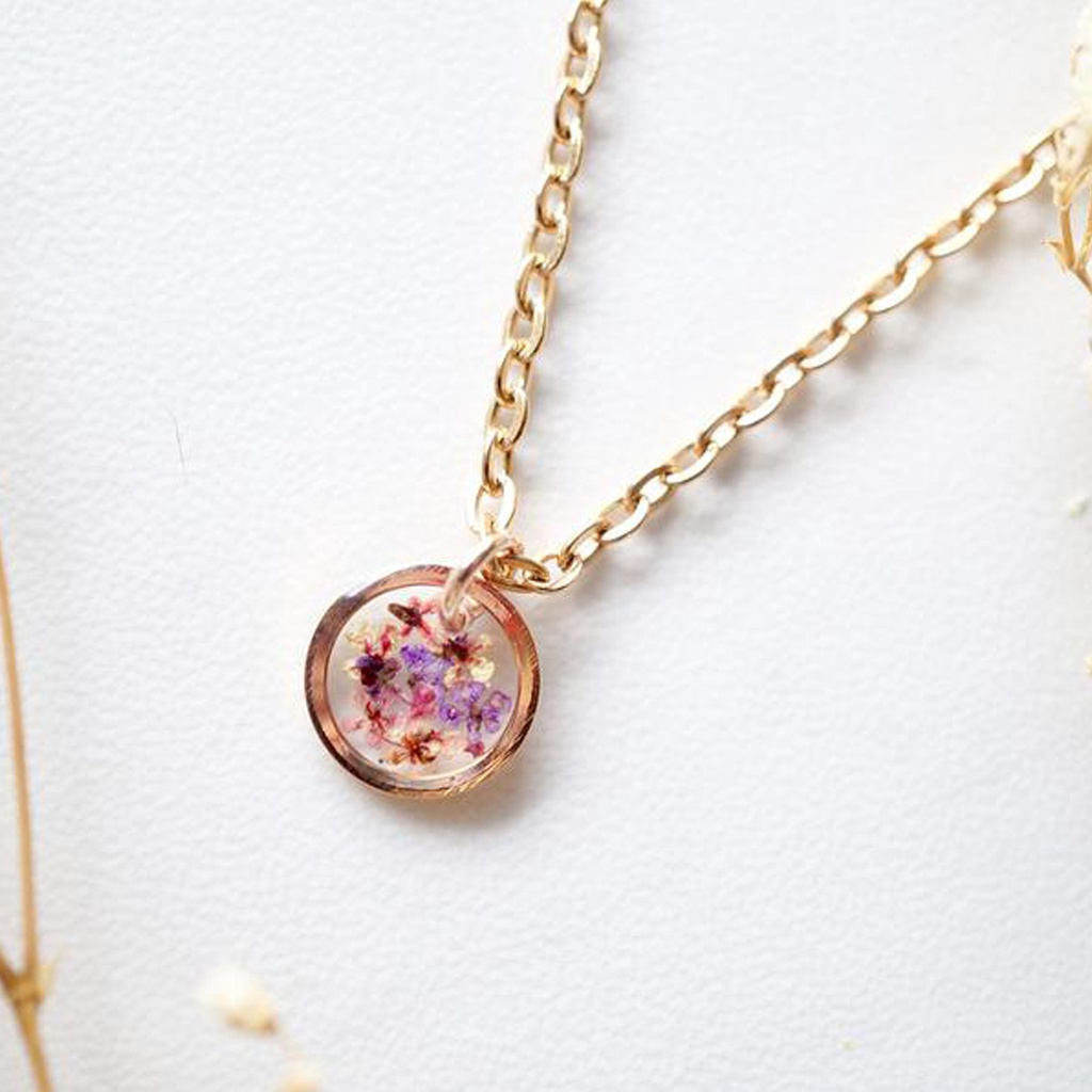 Real Dried Flowers in Resin Necklace, Small Rose Gold Circle