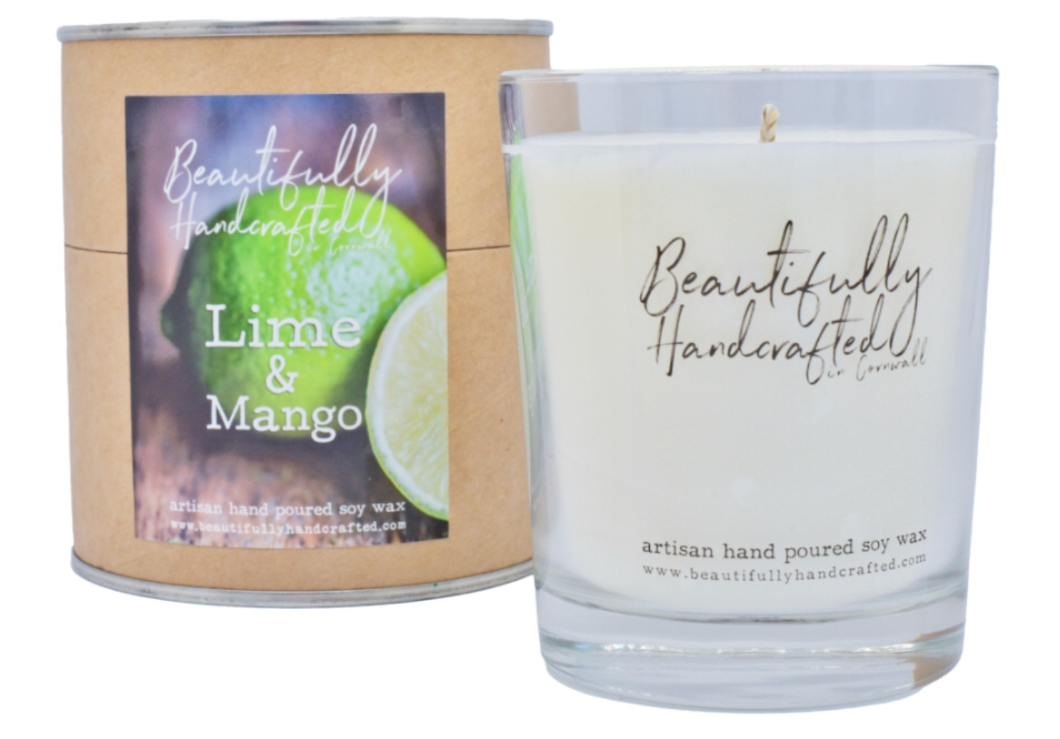 Beautifully Hand Crafted Lime & Mango Jar Candle