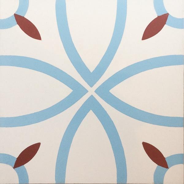 Handmade Tile | Light Blue Red Almond Shapes