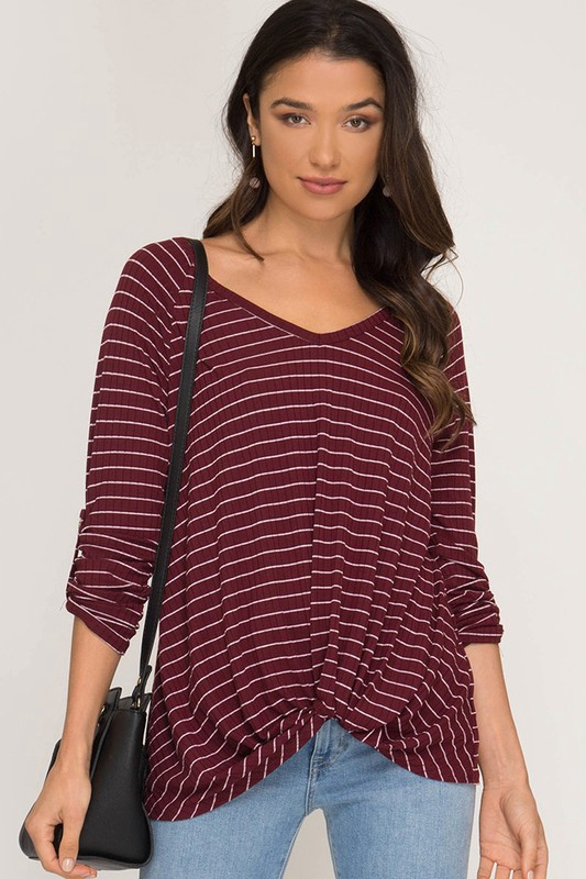 Maroon Striped Ribbed Top w Front Twist