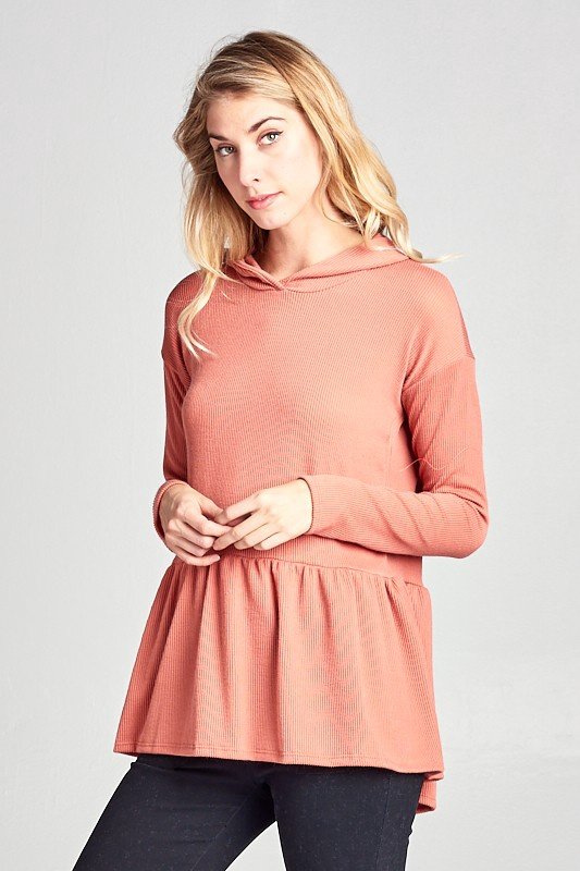 Hooded Ribbed Peplum Top / Salmon