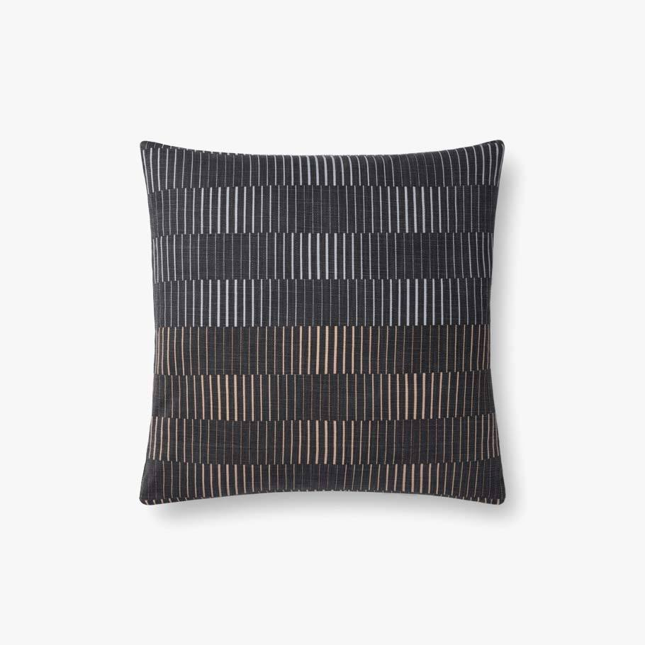 Grey Multi Stripe Pillow 18x18