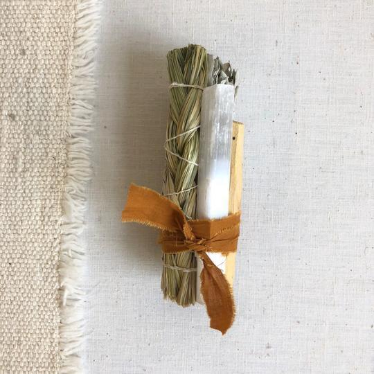 Large Sweet Grass & Selenite Smudge Stick